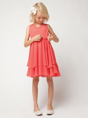 Coral Chiffon Double Layered Dress