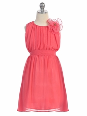 Coral Chiffon Pleated Dress