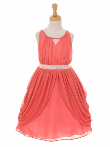 Coral Chiffon Pleated Pearl Belt Dress