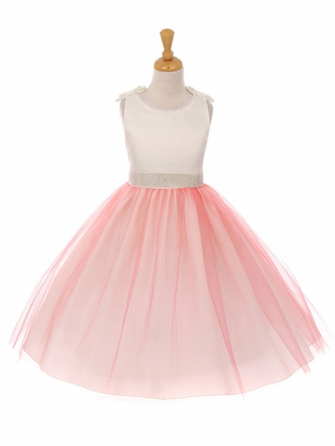 Coral Double Satin Bow w/ Beaded Trim & Neckline Tulle Dress