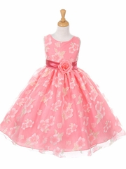 Coral Floral Organza Dress w/ Sash