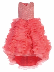 CLEARANCE - Coral Gwen and Zoe V-Neck Sparkle Ruffle High Low Dress