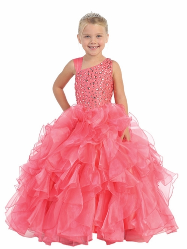 Coral Jewels & Gents Pageant Dress