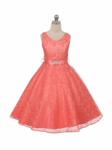 Coral Lace Contrast Satin Sleeveless Dress w/ Satin Sash & Brooch