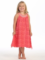 Coral Lace Dress w/ Jeweled Neckline