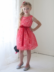 Coral Lace Dress w/ Sash