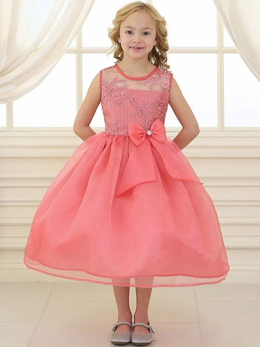 Coral Lace Flower Bodice Dress w/ Ribbon