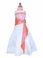 Coral Lace Jeweled Bodice w/ Satin Sash & Pin