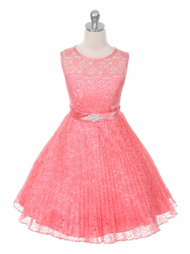 Coral Lace Sunburst Dress