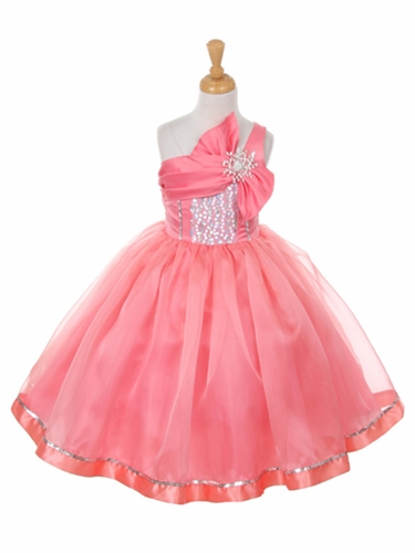 Coral One Shoulder Sparkle Organza Dress