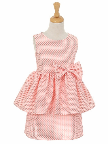 Coral Petite Polka Dot Jacquard Peplum Dress w/ Bow