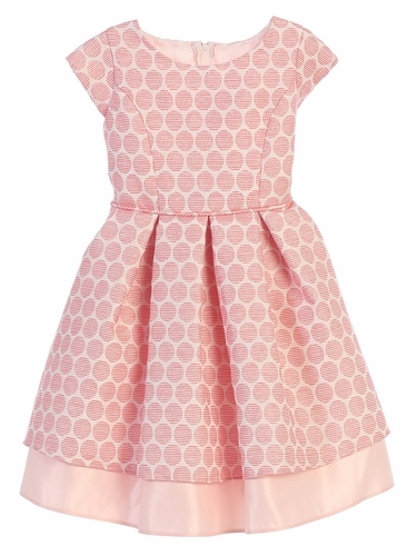 Coral Polka Dot Pleated Jacquard Dress