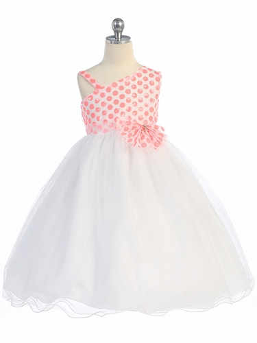 Coral Polka Dot Sequin Bodice w/ Tulle Skirt