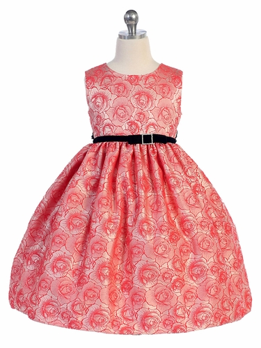 Coral Rose Jacquard Dress