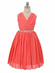 Coral Ruched Bodice Sleeveless Dress w/ Stud Waistband