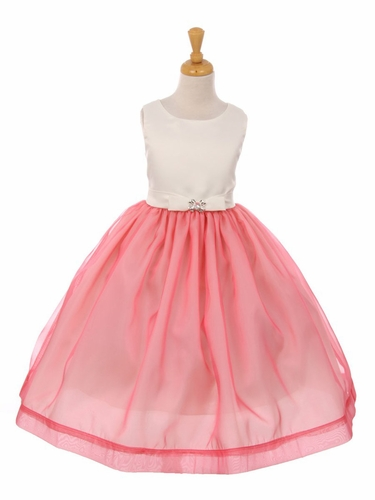 Coral Satin & Flare Organza Bow Dress