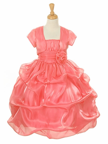 Coral Satin Organza Pickup Dress w/ Gathered Top & Bolero