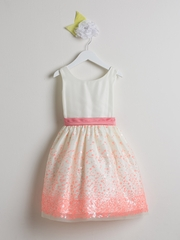 CLEARANCE - Coral Sequin Mesh w/ Scoop Back Dress
