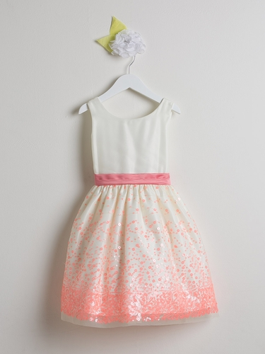 Coral Sequin Mesh w/ Scoop Back Dress