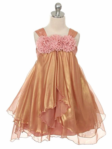 Coral Shiny Chiffon Dress
