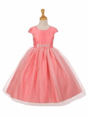 Coral Shiny Tulle Dull Satin Rhinestone Dress