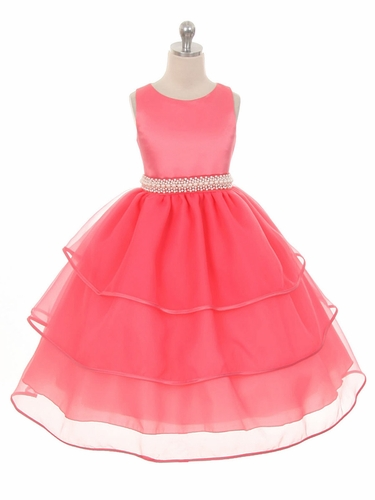 Coral Special Organza Tea Length Dress w/ Pearly Band