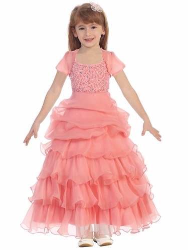 Coral Special Silk Organza Dress w/ Beaded Bodice & Bolero