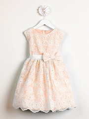 Coral Spring Embroidered Organza Dress