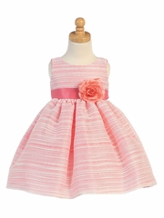 Coral Striped Organza Dress w/Flower
