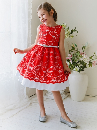 Coral Red Taffeta Dress w/ Flower Lace Overlay