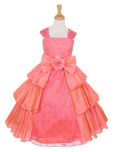 Coral Taffeta Layered Dress w/ Lace