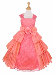 CLEARANCE - Coral Taffeta Layered Dress w/ Lace