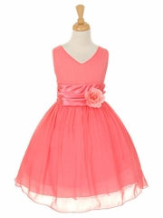 CLEARANCE - Coral Yoryu Chiffon Double V-Neck Dress