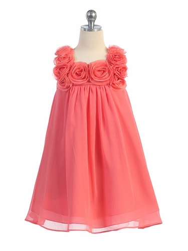 Coral Yoryu Chiffon Dress w/ Rose Buds