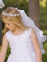 Corded Rosebuds w/ Bead Accents & Satin Ribbon Communion Veil
