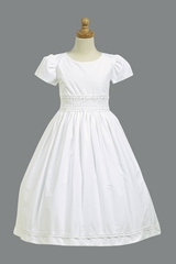 Cotton Communion Dress w/ Smocked Waistband
