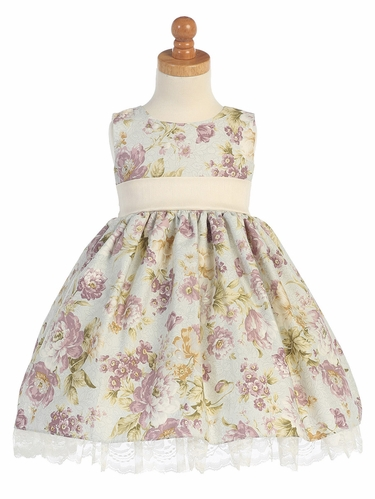 Cotton Floral Dress w/ Trim