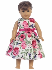 "Cotton Floral Print w/ Fuchsia Sash 18"" Doll Dress"