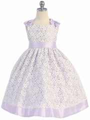Cotton Lace Dress w/ Lilac Poly Silk Trim & Sash