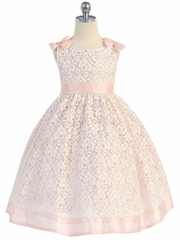 Cotton Lace Dress w/ Peach Poly Silk Trim & Sash
