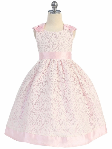 Cotton Lace Dress w/ Pink Poly Silk Trim & Sash