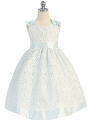 Cotton Lace Dress w/ Sky Blue Poly Silk Trim & Sash