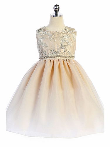 Crayon Kids 338 Ivory Embroidered Bejeweled Dress
