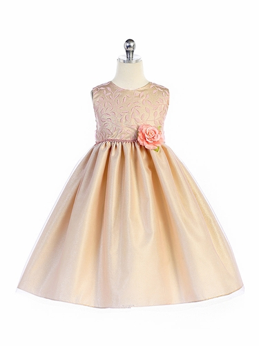 Crayon Kids 361 Champagne Pink Floral Accent Embroidered Dress