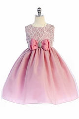 Crayon Kids 363 Dusty Rose Brooch Bow Accent Dress