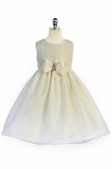 Crayon Kids 363 Ivory Brooch Bow Accent Dress