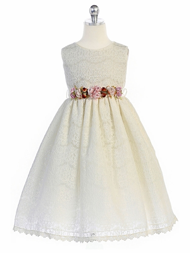 Crayon Kids 364 Ivory Floral Adorned Lace Dress