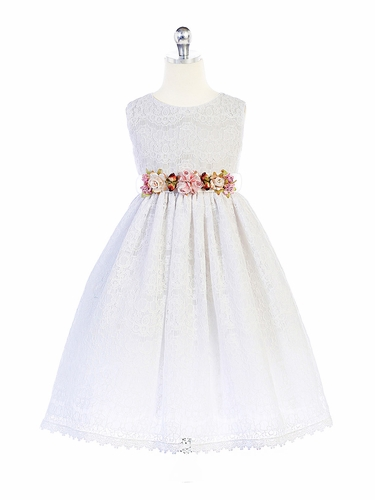 CLEARANCE - Crayon Kids 364 White Floral Adorned Lace Dress