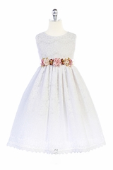 Crayon Kids 364 White Floral Adorned Lace Dress