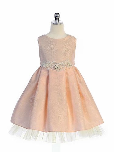 Crayon Kids 369 Blush Floral Brocade Dress